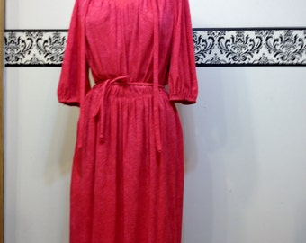 1970's Dark Pink Terry Cloth Bathing Suit Cover Up, Size Medium, Vintage Bathing Suit Coverup, 's Terry Cloth Robe, 70's Hipster Coverup