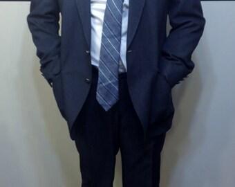 1950's Steel Blue Two Piece Men's Rockabilly Suit by Edgeworth, Vintage 1960's Mad Men Jacket Size 40 & Trousers Size 34 (modern 30) X 32