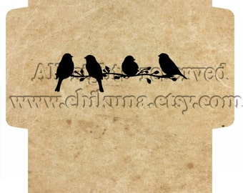 BIRDS - Printable Download Digital Collage Sheet Big Envelope - Print and Cut