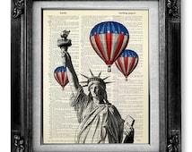 New York Art Print, Hot Air Balloon Print USA Flag Art, New York Print, New York Decor NEW YORK Wall Art, New York Painting, New York Poster