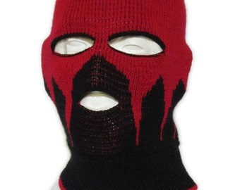 Knitted Black and red Ski Mask / Tuque