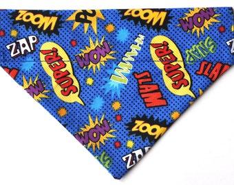 Superhero comic words dog bandana slides over the collar