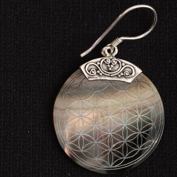 Flower Of Life Engraved Shell Pendant Earrings (PAIR) Fall Gift for her Wholesale