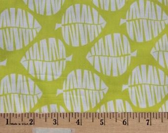1/2 Yard - Theory Leaves on Lime - Anthology Fabrics - Half Yard Cotton Fabric - Lime and White