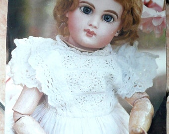 Poster antique doll.Jumeau.Blu Eyes.French.Old.Frame.24 x 35 cm