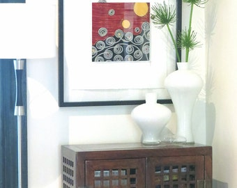 Leading the Way II - framed textile art, framed wall hanging, abstract, orange, yellow, black, white