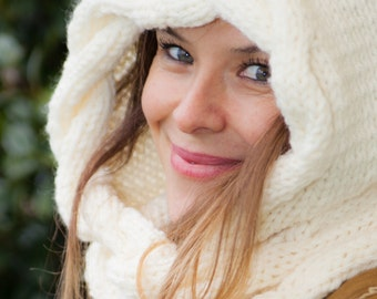 Wool Hat + scarf handmade entirely practical, comfortable and warm