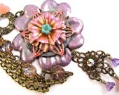 Flower Garden Necklace - Assemblage Altered Metal and Polymer Clay - Boho Hippie Gypsy Cottage Chic - Purple PInk Peach