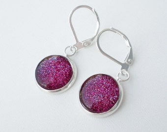 Raspberry Pink Red Glitter Nail Polish Earrings - Slammin' Red Sparkle Jewelry