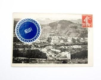 Hello Stickers - Set of 10 - Favor Tags, Envelope seals - Deep blue