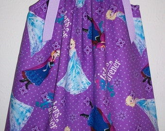 Pillowcase Dress Frozen Dress Anna and Elsa Purple Princess Dress with Snowflakes Sisters Forever baby dress toddler dress girls dress