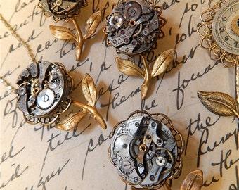 Steampunk Brooch, Flower Brooch, Repurposed Watch Parts, Steampunk Flower, Featured in Jewelry Affaire Magazine