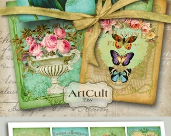 Printable download ROYAL GARDEN gift tags Digital Collage Sheet 2.5x3.5 inch size images Victorian Vintage greeting cards Art Cult designs
