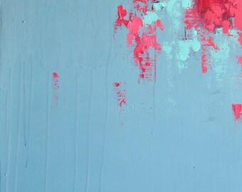 "Cherry Flowers Original Abstract Painting Modern Art Grey Pink 16x20"""