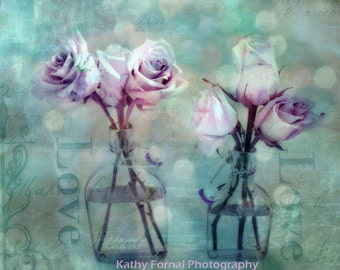 Roses Photography, Aqua Pink Roses Print, Shabby Chic Roses Wall Art Print, Romantic Pink Aqua Lavender Roses, Impressionistic Roses Print