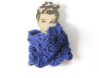 Lace Tube Scarf Iris Blue Cowl Amethyst Neckwarmer Chunky  Crochet Scarf