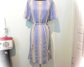 Vintage Dress 60s Blue Striped Emroidered Eyelet Dress  XL XXL - on sale