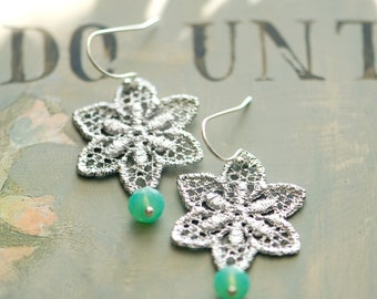 Metal lace earrings, mint earrings, silver and mint earrings, star earrings, aqua and silver, dangle earrings, bridesmaids earrings, Unique