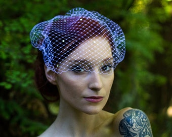 Veil with Crystals, Birdcage Veil,  Face Veil, Vintage Style Veil, Bridal Veil, White Wedding Veil, Ivory Wedding Veil, Net Birdcage Veil