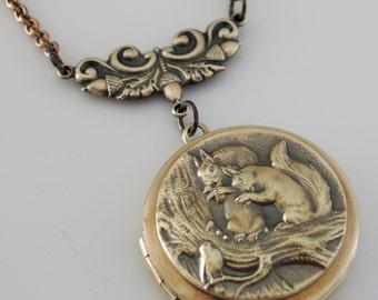 Locket Necklace - Squirrel Jewelry - Vintage Brass Locket - Vintage Brass Necklace - Nature Necklace -handmade jewelry