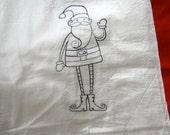 Skinny Santa Embroidered Flour Sack Towel InYourBones
