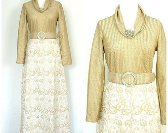 Vintage Gold Dress - 60s dress - gold wedding dress - Toni Todd - reception - bridesmaid - cocktail dress - small medium