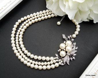ivory swarovski pearl and crystal necklace Statement Bridal necklace Wedding Rhinestone necklace swarovski crystal and pearl necklace JULIE