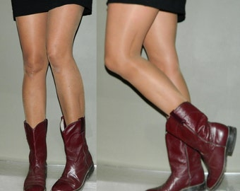 vintage 80s roper boots womens 9.5 oxblood leather
