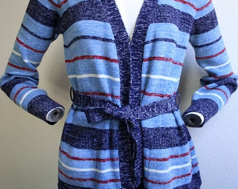 1970's Striped blue heathered medium weight basic long sleeved wrap layering sweater with pockets - women's sz S/M