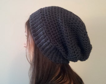 Slouchy Beanie, Slouchy Hat, Slouch Beanie, Crochet Slouchy, Crochet Beanie, Wool Hipster Beanie