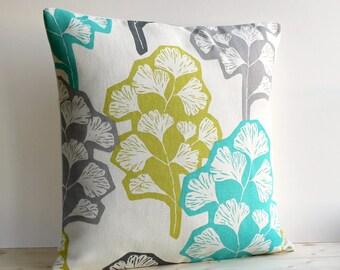 Contemporary Pillow Cover, 16x16 Inch Modern Cushion Cover, 16 Inch Pillow Sham - Gingko Fresh