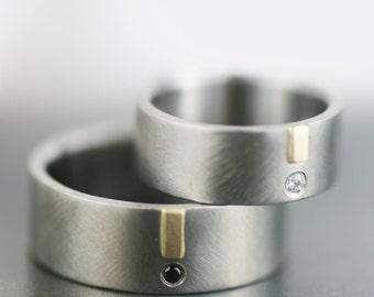 womens wedding band set, mens wedding band, mens wedding ring set, diamond wedding, gold wedding palladium wedding handmade engagement ring