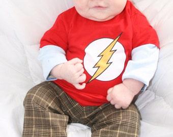 Big Bang Theory Baby Sheldon Costume, Flash Baby Shirt, Flash Toddler T-shirt, Sheldon Cooper Baby Costume Shirt, Geeky baby shirt