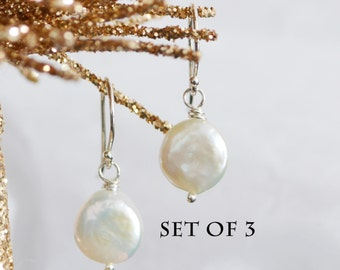 Discounted Set of 3 White Coin Freshwater Pearl Earrings Argentium Silver French Hoops, Wedding Jewelry, Bridesmaid Gift