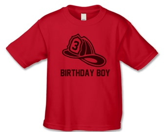 Personalized Birthday Boy Shirt - Fire Helmet Birthday Shirt - Use Any Number - Firehouse party - Fire Truck Birthday - Create Matching Tees