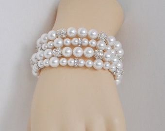 Bridal Pearl Bracelet, Wedding Jewelry Bridal Bracelet, Pearl Bride Bracelet, Bridal Pearl Cuff, Bride Pearl Jewelry, Bride Jewelry