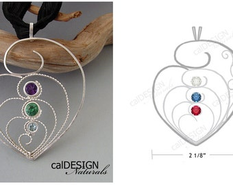 """Artisan Made Personalized Filigree """"Mother's Love"""" Pendant Mother & Child: Sterling Silver, Custom, Birthstone - Perfect for Mother's Day"""