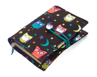 Handmade Book Sleeve, Fabric Book Cover Bag, Bible Cover, Night Owls fabric