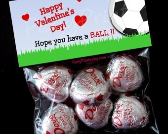 INSTANT DOWNLOAD - Printable Valentine Treat Bag Toppers  - Soccer BALL Valentine's Day