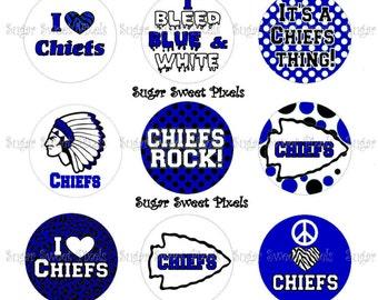 INSTANT DOWNLOAD Blue Chiefs School Mascot 1 inch circle Bottlecap Images