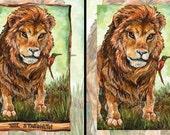 Lion Print, Strength Tarot Card, 8x10 Wall Art, Bee Eater Bird Print, Animal Illustration, Wildlife Decor, Animism Tarot Deck