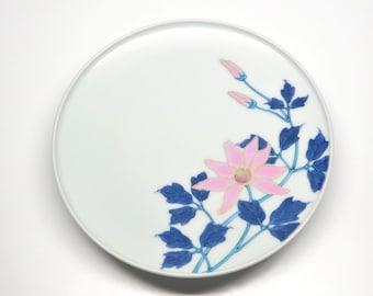 Vintage Dish Small Plate Pedestal Pink Lotus Blossom Blue