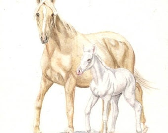Horses, Mare and foal, 5x7 print from original watercolor, horse painting, home decor, wall art, art & collectibles, earthspalette