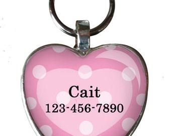 Pet iD tag oval CAT ID small breed Dog Tag Cat Tag by California Kitties Pink