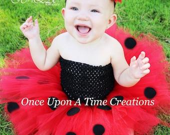 Little Ladybug Tutu or Dress - Newborn 3 6 9 12 18 24 Months 3T 4T 5 6 Halloween Birthday, Costume - Red & Black Lady Bug