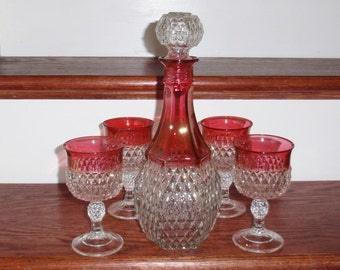 """5 Pi Set INDIANA DIAMOND POINT 11 1/2"""" Ruby Red Decanter 4 Goblets 5 1/4"""" Clear Pressed Heavy Crystal Wine Stems Glass Excellent Condition"""