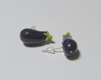 Food Jewelry Eggplant Earrings Aubergine Earrings, Miniature Food Jewellery, Mini Food Earrings, Vegetarian Earrings Vegan Earrings Gardener