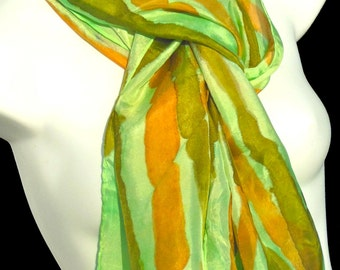 "Asian Infusion/ Bamboo/ SILK SCARF for Women.  Hand Painted Silk Scarf by NYC artist Joan Reese / 100% Silk/14""x72"""