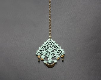 Long boho necklace mint green and golden with geometric charms