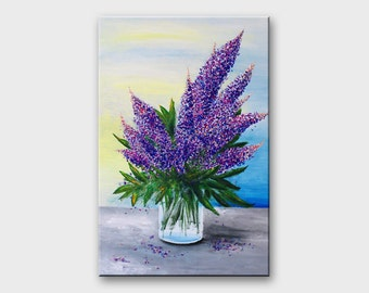 Acrylic flower painting Flowers Floral acrylic paintings Original art Floral decor Living room decor Floral art painting Floral wall art
